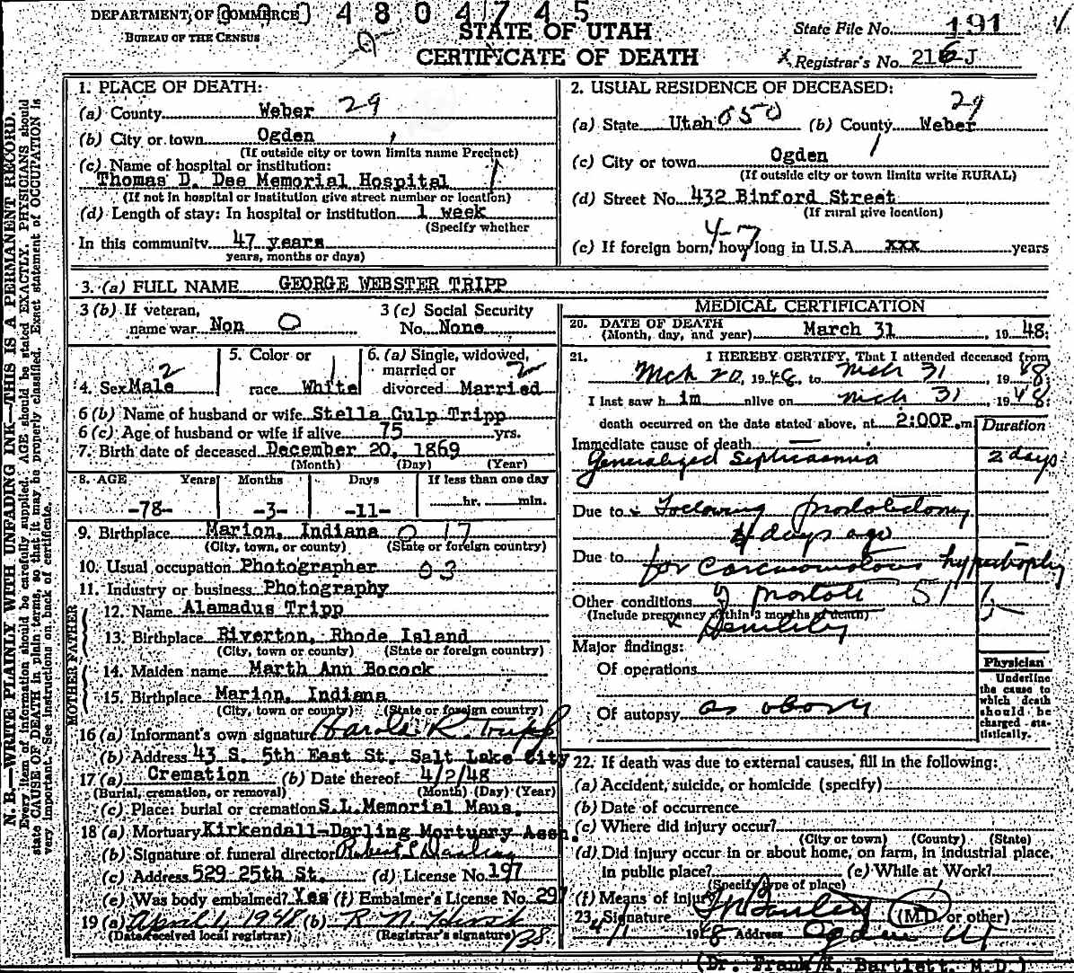 Documents Utah Death And Military Death Certificates 1904 1961